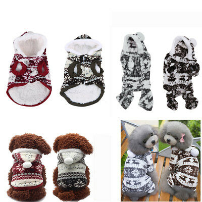 Pet Dog Cat Snowflake Strips Winter Warm Apparel Hoodie Coat Sweater Clothes