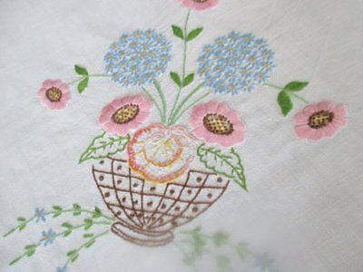 VINTAGE TABLECLOTH HAND EMBROIDERED with BOWLS of FLOWERS-LINEN