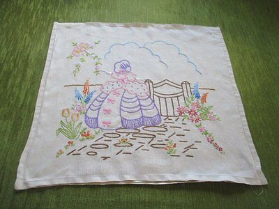 Vintage Cushion Cover-Hand Embroidered Crinoline Lady
