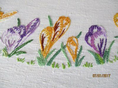 "VINTAGE TABLECLOTH HAND EMBROIDERED CROCUS FLOWERS - LINEN - 50""sq."