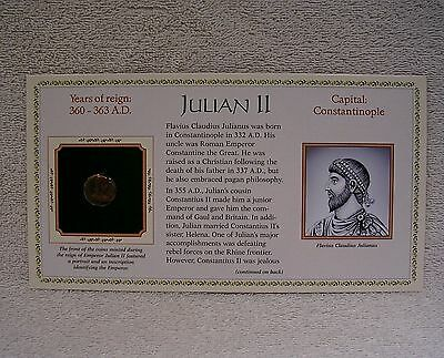 Coinage of Ancient Roman Emperor - Julian II  360-363 A.D. Genuine Bronze Coin