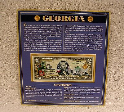 Georgia  $2 Two Dollar Bill - Colorized State Landmark - Uncirculated Authentic