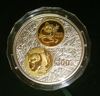2002 China 300 Yuan 1 Kilo Silver & 3 Gram Gold 20th Anniversary Panda in Box