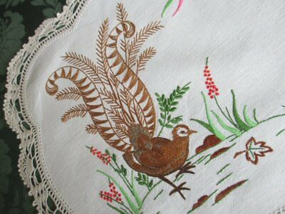 Antique Tray Cloth-Lyrebird-Hand Embroidered-Beautiful