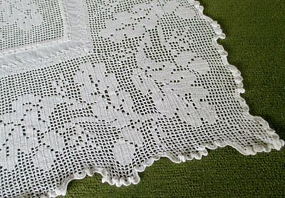 Antique Tablecloth-Hand Crochet Edge Oak Leaves & Acorns-Irish Linen