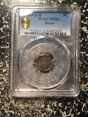 1900-Cn Q Mexico 5 Centavo Silver! PCGS MS63 Lot#G378 Nice Toning! Choice UNC!