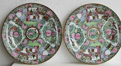 Fine Old Pair of Japanese Porcelain Chinese Famille Rose Medallion Chargers  c