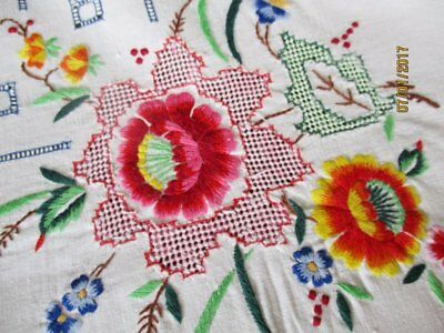 "VINTAGE TABLECLOTH HAND EMBROIDERED-COLLURFUL FLOWERS-47""sq."