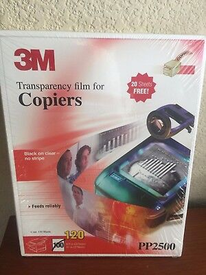 3M PP2500 Transparency Film for Copiers 120 sheets 8.5x11 inch NEW Free Shipping