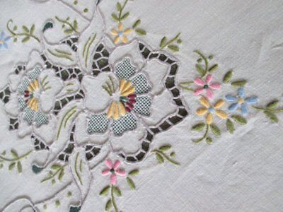 "ANTIQUE MADEIRA TABLECLOTH-BEAUTIFULLY HAND EMBROIDERED-50""sq."