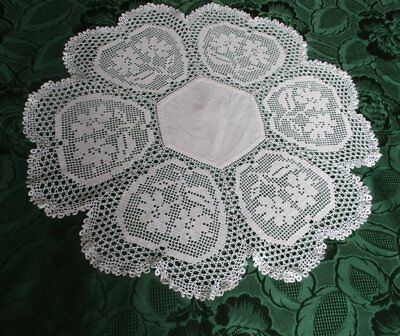 ANTIQUE TABLE CENTER with HAND CROCHET EDGE
