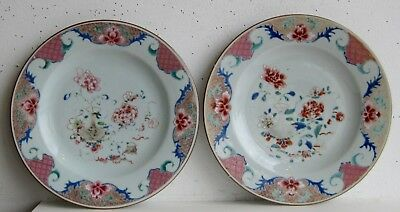 Fine Old Pair of Chinese Famille Rose Porcelain Peonies Flower Decorated Plates