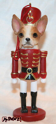 Chihuahua Tan and White Dog Soldier Holiday NUTCRACKER ORNAMENT