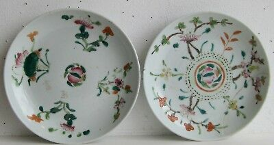 Fine Old Pair of Chinese Enamel Painted Porcelain Dessert Plates SIGNED
