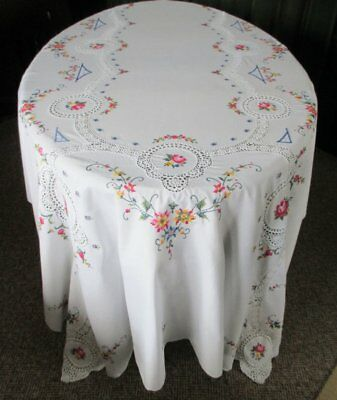 "LARGE TABLECLOTH DECORATED WITH HAND EMBROIDERY & CROCHET-62""x100"""