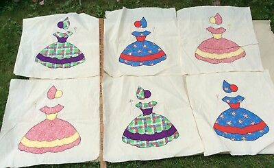 Vintage Quilt Blocks Squares 18 By 18 Embroidered Southern Belle Hand Stitched