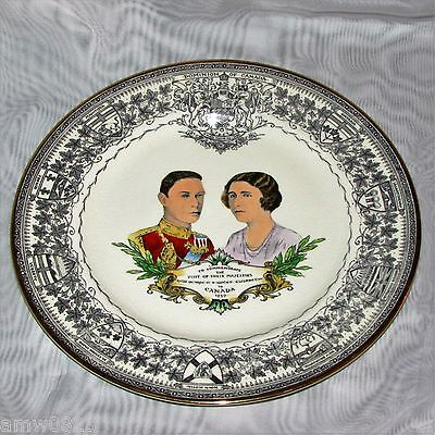 King George Queen Elizabeth Royal Visit To Canada Hand Painted 1939 Royal Winton