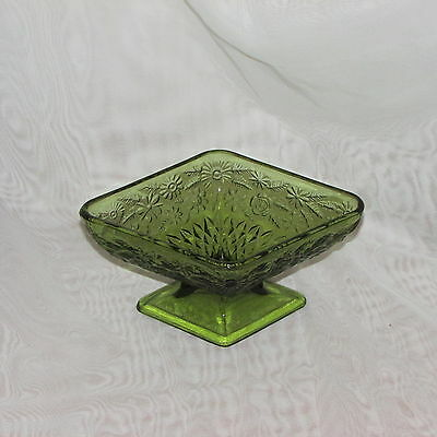 Vintage Indiana Green Glass Vase Candy Dish Planter Flowers Textured Diamond