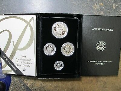 1998 American Eagle PLATINUM 4 COIN PROOF SET IN ORIGINAL BOX WITH COA PERFECT