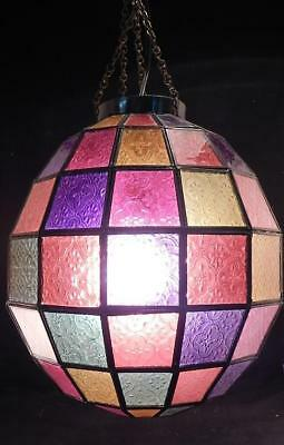 Vintage Mid Century Stained Glass Hanging Ceiling Chandelier Lamp~Light~Working