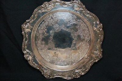 "Vintage Gorham Silver Plate 15.5"" Ornate Serving Tray Platter"