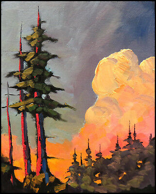 W HAWKINS Original Glorious Red Clouds Sunset Tree  Art Landscape Oil Painting