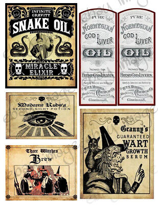 Snake Oil, Wart Growth Halloween Labels -  Our Designs     #557