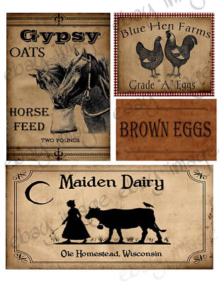 Farm Oats, dairy, Egg  Labels -  Our Designs     #555