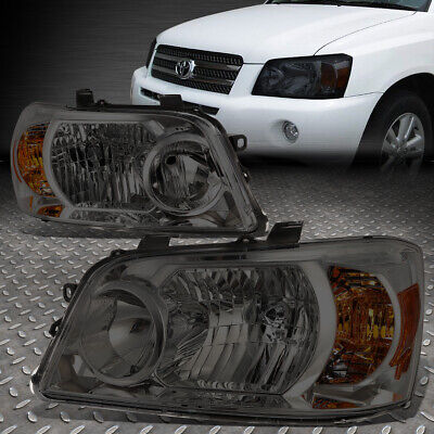 For 2004-2006 Toyota Highlander Pair Smoked Housing Amber Corner Headlight/lamp