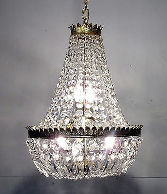 Antique Vintage Chandelier Basket Beaded Crystal Light Fixture Lamp Pendant