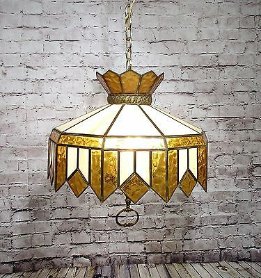 Antique Vintage Chandelier Slag  Stained Glass  Style Shade Amber Yellow Light