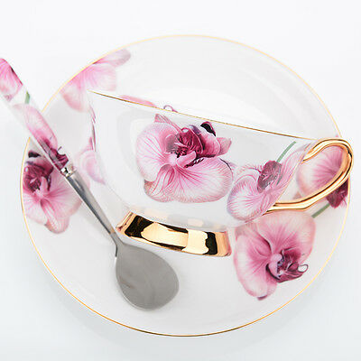 Fine Bone China Coffee Cup Saucer Spoon Phalaenopsis Ceramic Porcelain Mug Set