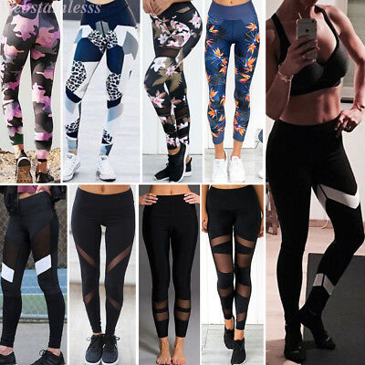 Women Yoga Gym Stretch Trousers Leggings Fitness Jogging Running Sports Pant Lot