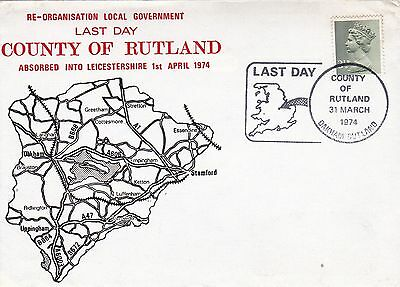 GB 1974 Last Day of The County of Rutland  Unadressed VGC  FDC