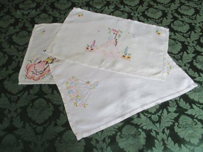 Vintage Tray Cloths-Hand Embroidered Crinoline Ladies-Col.of 3