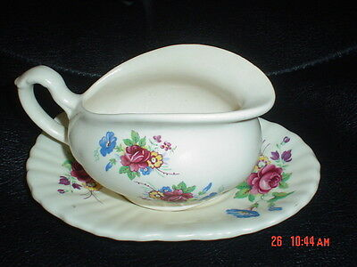 Very Pretty Axe Vale Sauce Boat And Dish Flowers 1950's