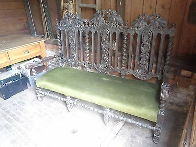 Antique Victorian Oak Settle - Double Stretcher