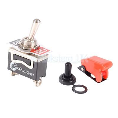 SPST 2 Terminals On Off Toggle Switch With Waterproof Cover Cap for Auto Car