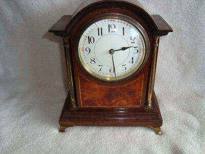 Lovely Edwardian Inlaid Brass Column 8 Day Mantel Clock Fully Working