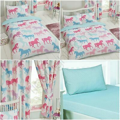 Patchwork Ponies Horses - Junior, Single & Double Duvet Cover Set + Curtains