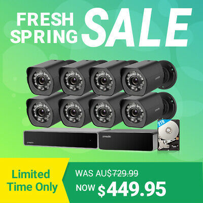 Zmodo 1080p Full HD Security Camera System 8 CH HDMI NVR, sPoE Repeater, 2TB HDD