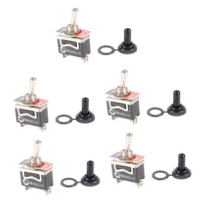 5pcs SPST 15A 125V 10A 250V ON/OFF Toggle Switch Waterproof Knob Cover