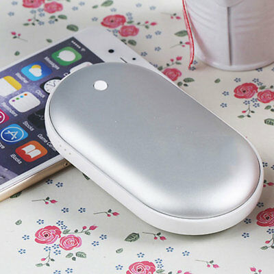 5000Mah USB Charger Pocket Electric Hand Warmer Rechargeable Heater Silver