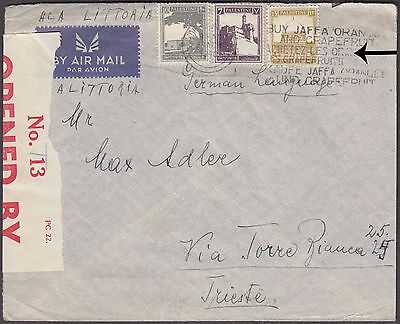 Palestina 1940 3 Color Franking On Nice Airmail Red Censored Label To France