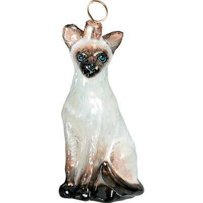 Siamese Oriental Cat Glass Polish Christmas Ornament Made in Poland Decoration