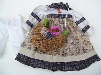 Alte Puppenkleidung Country Dress Bag Outfit vintage Doll clothes 40 cm Girl
