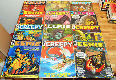 12x EERIE 13-21 & CREEPY 18-39 lot Warren Magazines 1968 Horror early issues