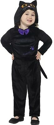 Girls Toddlers Black Cat All In One Halloween Fancy Dress Costume 1-4 years
