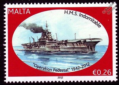 HMS INDOMITABLE (92) Aircraft Carrier Warship WWII Malta Convoys Stamp