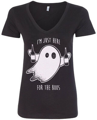 I'm Just Here For The Boos Women's V-Neck T-Shirt Halloween Drinking